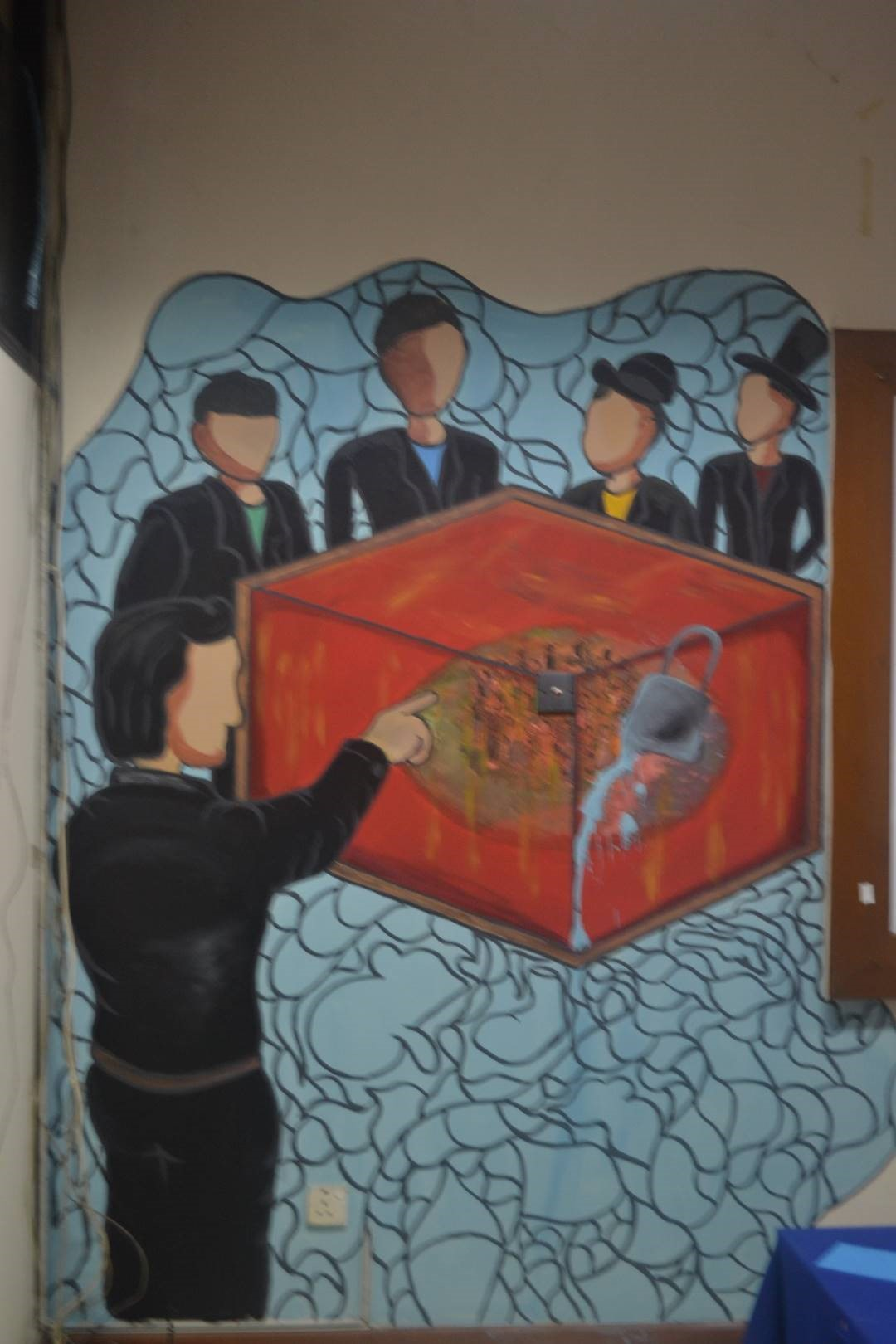 Dalam mural ini terkandung  pesan bahwa kepentingan segelintir orang akan mengorbankan nasib orang banyak.
