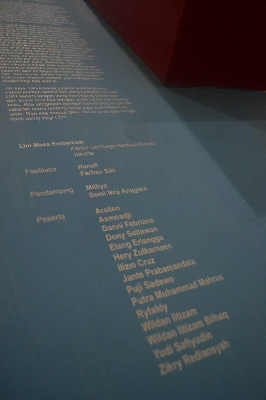 Nama-nama fasilitator, pendamping, dan peserta pembuat mural gedung YLBHI.